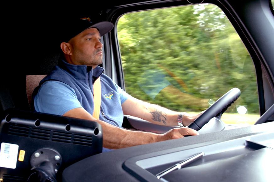 variant driver driving in truck